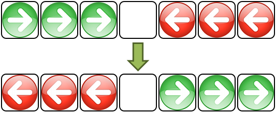 The goal of Hop game is to replace green arrows by red arrows and red arrows by green arrows.